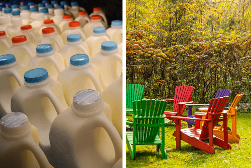 polyethylene milk jugs and polystyrene lawn chairs