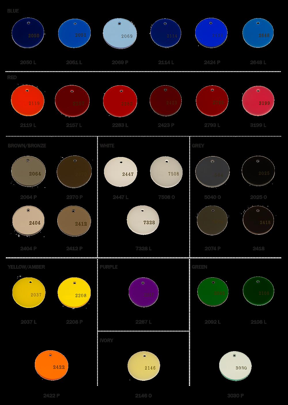 Colored cast - Cast Acrylic Color Chart